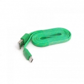 OMEGA FABRIC BRAIDED MICRO USB TO USB FLAT CABLE 1M GREEN