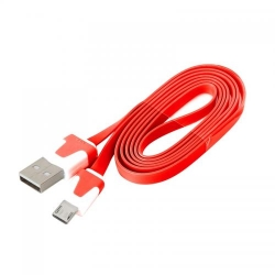 OMEGA cablu USB 2.0 to MicroUSB 1.0m, FLAT RED