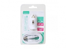 OMEGA CAR CHARGER USB 5V 1A WHITE + microUSB cable