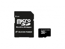 Memory Card Silicon Power Micro SDHC 8GB, Clasa 4 + Adaptor SD