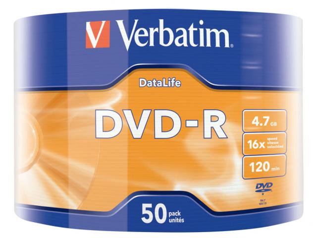 VERBATIM DVD-R DATALIFE 16X 4.7GB SHRINK 50