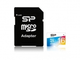 Memory Card Silicon Power Elite Micro SDHC 16GB, Clasa 1, UHS-1 + Adaptor