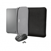 """TRUST Yvo 15.6"""" Laptop Sleeve and Wireless Mouse - Black/Grey"""