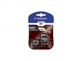 Verbatim microSDHC Class 10 64GB Incl adapter
