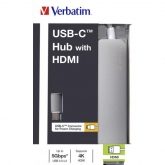 VERBATIM USB-C Hub with HDMI, Grey