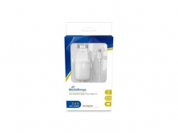 MediaRange charger with microUSB cable, 2.4A output 1m white
