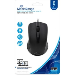 MediaRange Corded 3-button optical mouse, black