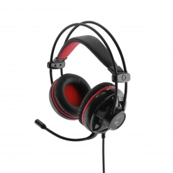 MediaRange Gaming Series Corded 5.1 surround sound gaming-headset with volume control and red LED backlight, black/red