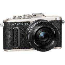 Olympus E-PL8 Pancake Double Zoom Kit blk/blk/blk (E-PL8 Black + EZ-M1442EZ black +  EZ-M4015 R black incl. Charger & Battery)