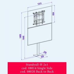 OMB STANDYALL - stand fix pentru VIDEOWALL, 2x1 single, landscape