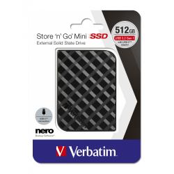 VERBATIM STORE 'N' GO MINI SSD USB 3.2 GEN 1 512GB BLACK