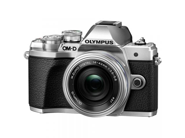 Camera foto Mirrorless Olympus E-M10 Mark III, 16.1 MP, Silver+ Obiectiv EZ-M1442 IIR Silver