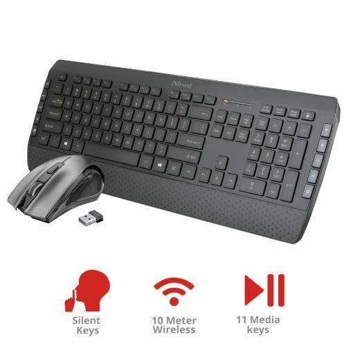 TRUST Tecla2 Wireless Multimedia Keyboard with mouse