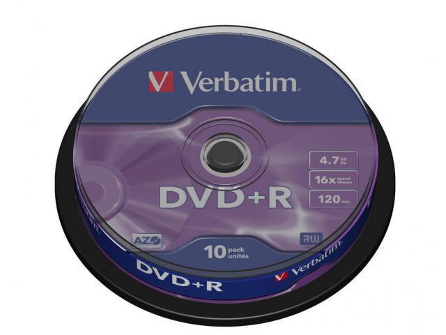 Verbatim  DVD+R 16X 10PK SPIND MATT SILV