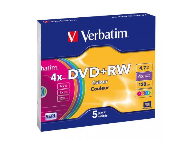 Verbatim  DVD+RW 4X COLOR SLIM CASE 5PK